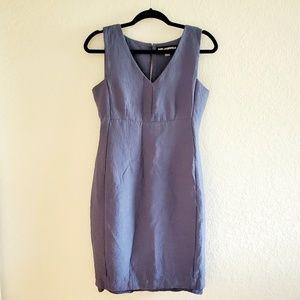 Karl Lagerfeld Blue Sleeveless V-Neck Sheath Dress